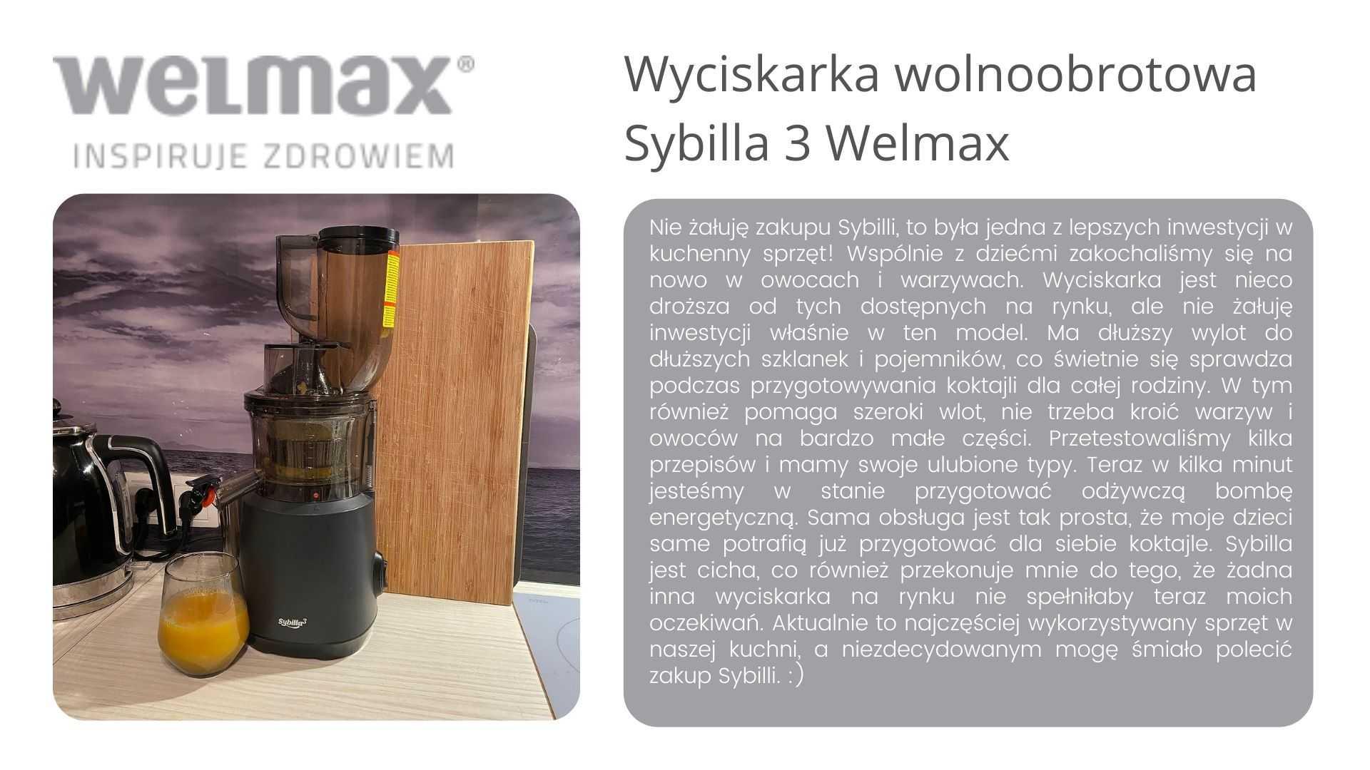 Wyciskarka wolnoobrotowa Sybilla 3 welmax opinie